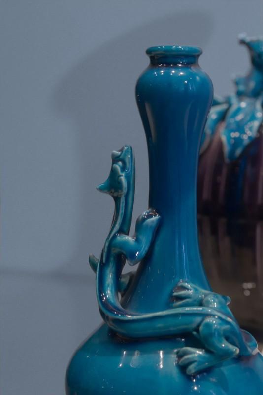 Théodore Deck, lézart ou dragon sur vase